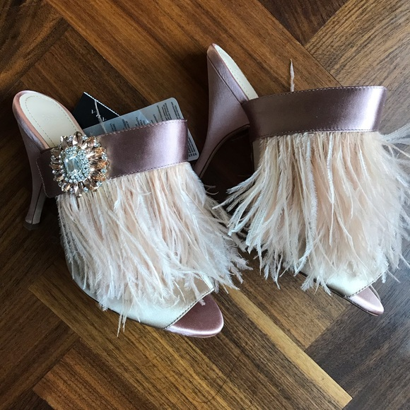c571ea514b6 Zara Peep-toe Pink Feather Mules